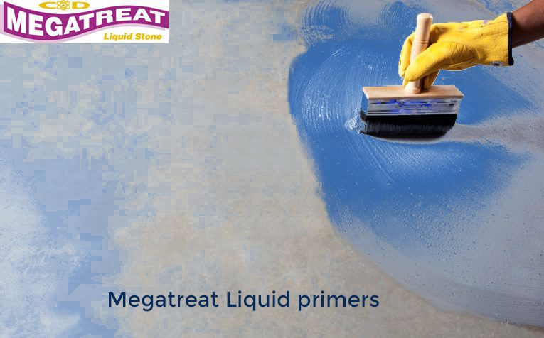 The man is using megatreat liquid primer to decor and beautify his house.